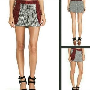 Free People Red Black Tie Side Shorts